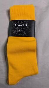 Fine Fit Men's Solid Crew Dress Socks SV3 Yellow Shoe Size 6-12 NWT