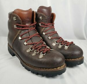 RAICHLE MEN VINTAGE LEATHER RED LACE UP MOUNTAINEERING/HIKING/TRAIL BOOTS SZ 8.5