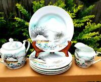 Vintage Kutani Japan Meijyo China, Sugar Bowl/Lid, Creamer, 5 Dessert Plates