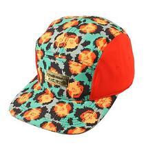 Men's Summer Cotton Big Leopard Print 5 Panel Snapback Cadet Cap Hat Red Green