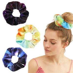 Starry Sky Print Elastic Hair Bands Colorful Scrunchie Ponytail Hair Ties Rope