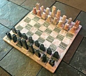 """Stone Marble Carved Chess Set, Aztec Mayan Design, 32 Pc, Complete, 14"""" x 14"""""""
