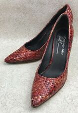 """Womens Donald J. Pliner 7.5N 3.5"""" High Heels Red Cream Multi-Colored Woven"""