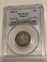 1854-O F15 Arrows Huge O Variety Liberty Seated Quarter 25c, PCGS F15