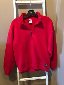 VTG Russell Athletic Red Blank zip Sweatshirt Made in USA Youth XL VGUC