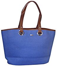 Womens Large Blue Beach Bag Tote with Faux Leather trim