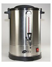 Savvy Commercial Living Hot Water Urn 50 Cups Brushed Stainless Steel Metal