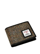 Mens Harris Tweed Trifold Wallet Purse Brown With Gift Box
