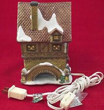 Christmas Gingerbread Village House Lights Up Porcelain W/ Snow Brick Bridges