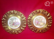 Vintage Two Fragonard Brass Framed Limoges Ceramic Plaques
