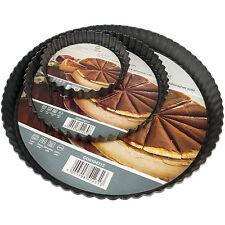 3 Piece Round Fluted Tart Tin Set Pie Quiche Flan Mould Trays Loose Bottom Base
