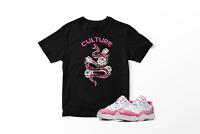Culture Tee Shirt to Match Women Air Jordan XI Low White/Pink Snakeskin Pro Club