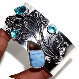 Owhyee Blue Opal Blue Topaz Ethnic Gemstone Handmade Antique Bangle Jewelry JW