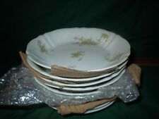 """12 Vtg O.P. Co. Syracuse Pink Floral 7"""" Soup Bowls """"Early Dearborn"""" Onandoga"""