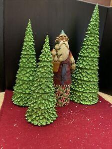 Holiday Christmas Decor Lot Of 4 - Santa Jim Shore, And 3 Large Christmas Trees