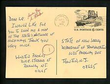US Postal History #UX62 Postal Card 1972 Colonia NJ to Trenton NJ
