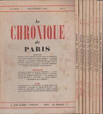 La Chronique de Paris N°1 à 9. Brasillach, Drieu La Rochelle, Rebatet. EO1943-44
