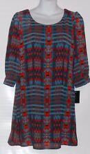 Heartsoul Junior 3/4 Sleeve Cage Back Dress Turquoise Multi XS NWT