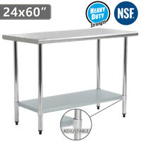 "24""x60"" Stainless Steel NSF Food Prep & Work Table Kitchen Restaurant w/Shelf"