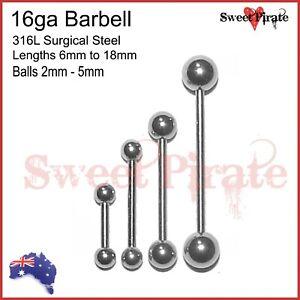 Surgical Steel Barbell 16ga Body Piercing Bar Ring Tongue Ear Nipple 1pc