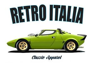LANCIA STRATO'S t-shirt. RETRO ITALIA. STRATOS. ABARTH. RALLY CHAMPION.