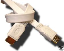 White 5m Flat Ribbon Gold HD HDMI Cable Lead 5 Metre