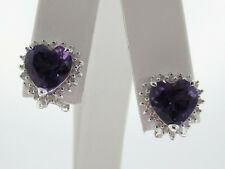 Purple HEART Amethysts Diamonds Solid 14K White Gold Earrings FRENCH CLIP