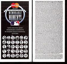 2002 MASTERCARD MLB MEMORABLE MOMENTS BALLOT Unpunched