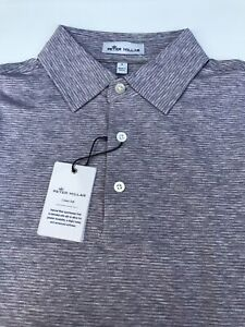 Peter Millar Crown Soft Pima Cotton Silk Grey Striped Golf Polo Shirt Men's S