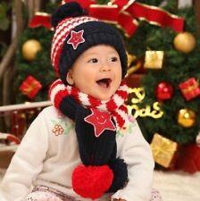 Niños Niñas Niños Invierno Cálido Sombreros Bufanda y Gorro Conjunto de regalo estrella de cinco puntas