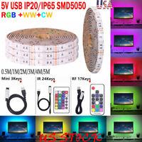 DC5V USB Strip 60LEDs/M 5050 RGB Flexible Lights Background Lighting Home Decor