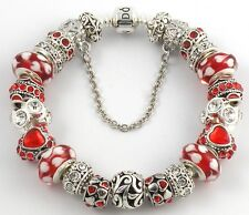 Authentic PANDORA Barrel Bracelet with RED HEART European Charms & Murano Beads