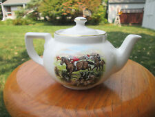 Hall China BOSTON TEAPOT 2-CUP w Gold Trim & ENHANCED STEEPLE CHASE DESIGN,MINT!