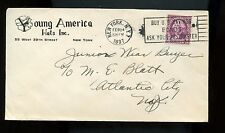 US illustrated Advertising Cover (Young America Hats Inc) 1937 NYC to Atlantic