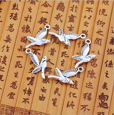 10pcs Antique silver flying bird charm pendants F0067
