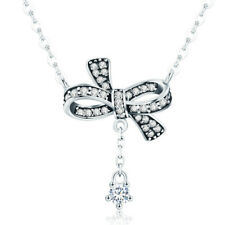 Women Crystal Bowknot 925 Sterling Silver Necklace Statement Pendant Chain
