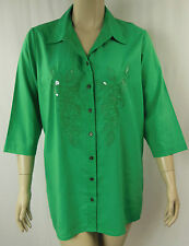 BeMe Green Sequin 3/4 Sleeve Button Front Tunic Shirt Top Plus Size 16 BNWT #C48