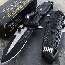 "8.5"" TAC FORCE EMT SPRING ASSISTED TACTICAL KNIFE w/ LED LIGHT Pocket Blade Open"