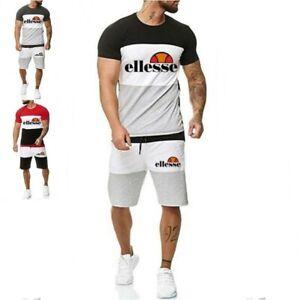 2Pcs  Mens Short Sleeve Tracksuit Set T shirt Tops Shorts Gym Jogging Suit ^UK