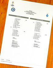 Chelsea - Dynamo Kyiv (Kiev) teamsheet Europa Lge Round of 16,1st Leg 7/3/19