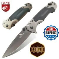 9'' Folding Pocket Knife Survival Open Blade G10 Tactical Camping Hunting Knives