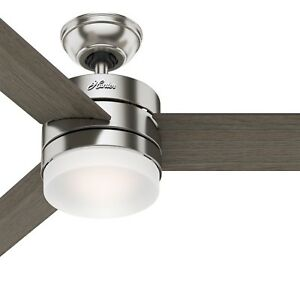 Hunter Fan 54 inch Modern Ceiling Fan with LED Light Kit in Brushed Nickel