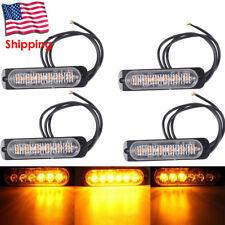 4Pcs Amber 6 LED Bar Car Truck Strobe Flash Emergency Warning Light 12V-24V US