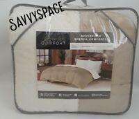 PREMIER COMFORT Reversible Sherpa Down Alternative FULL/QUEEN Comforter Tan