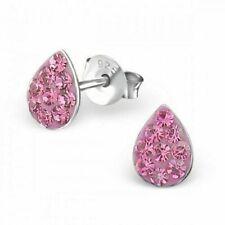 Girls 925 Sterling Silver Stud Crystal Earrings Christmas Stocking Filler BOXED