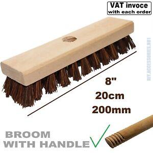 "8"" 200mm BASSINE Deck Scrubbing Brush with HANDLE Stiff Bristle Hard Broom Sweep"