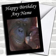 Orangutan Mum & Baby Birthday Customised Card