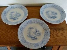 3 - T & J Mayer Nonpareil Blue Transferware Plates c. 1840 Longport England
