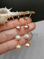 fashion 7-8MM south sea multicolor pearl earrings 14K  GOLD