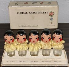 1920s Stuart Products Karoff Floral Quintuplets Perfume Bottles w/ Original Box